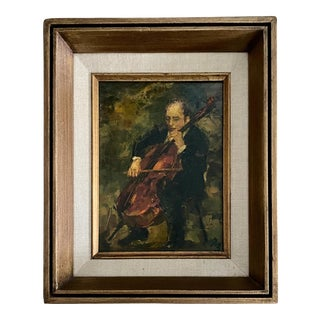1950s Ron Blumberg Oil Painting on Panel of Cello Player, Framed For Sale