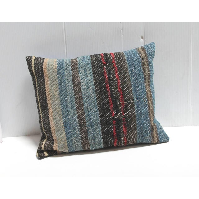 Country Group of Three 19th American Rag Rug Pillows For Sale - Image 3 of 5