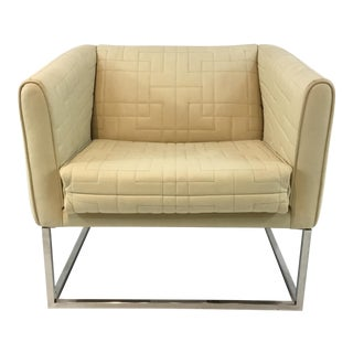 Modern Quilted Ivory Leather Tuxedo Chair For Sale