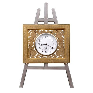 English Gilded Easel Clock For Sale