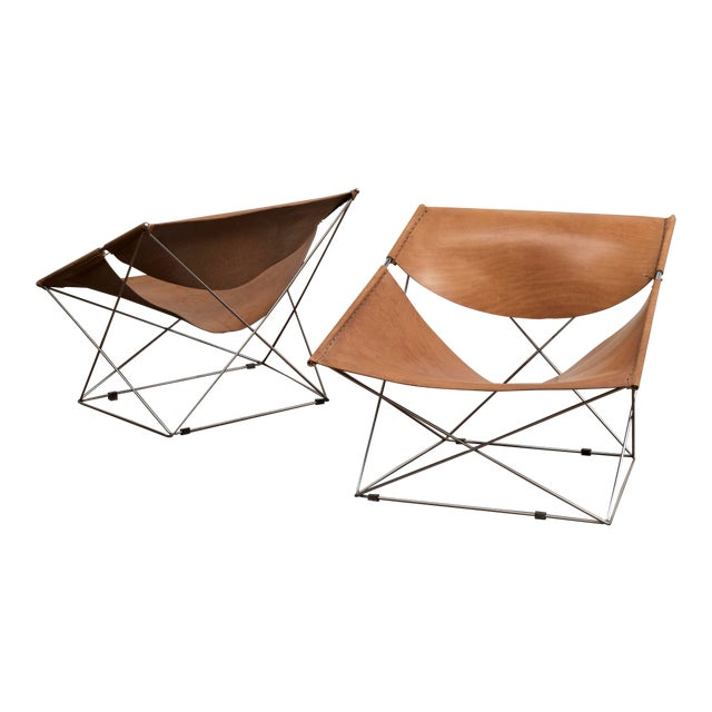 Pair of Pierre Paulin Butterfly Chairs in Original Leather, France, 1963 For Sale