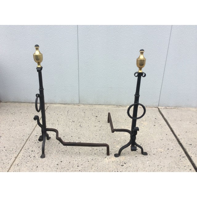 1800s Brass & Iron Andirons - A Pair - Image 7 of 8