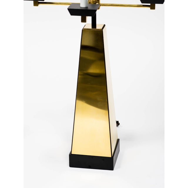 1950s Restored 1950s Brass Obelisk Lamp For Sale - Image 5 of 7