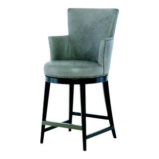 Century Furniture Ballentine Swivel Counter Stool, Granite Leather For Sale