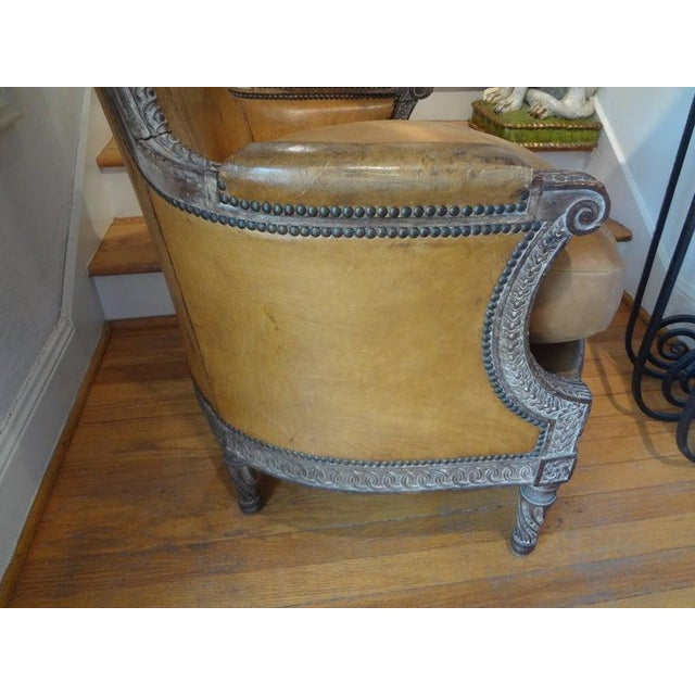 Antique French Louis XVI Style Bergere With Distressed Leather Upholstery For Sale - Image 4 of 13