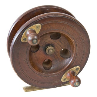 Early English Walnut Fishing Reel For Sale