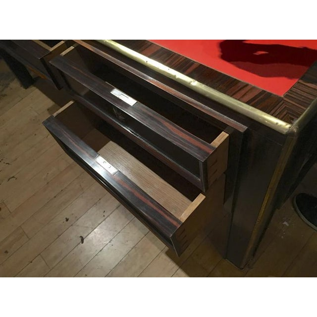 Jacques Adnet Jacques Adnet Rarest 40s Documented Makassar Desk For Sale - Image 4 of 7