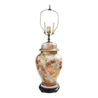 Vintage Japanese Satsuma Mille Fleur Ginger Jar Lamp For Sale