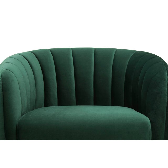 Contemporary Channeled Side Chair in Dark Green For Sale - Image 3 of 6