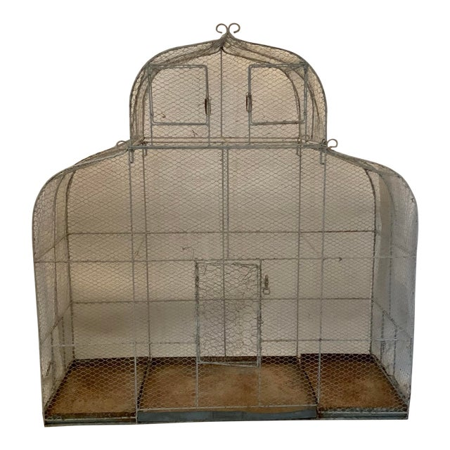 Vintage 1950s French Style Metal Birdcage For Sale