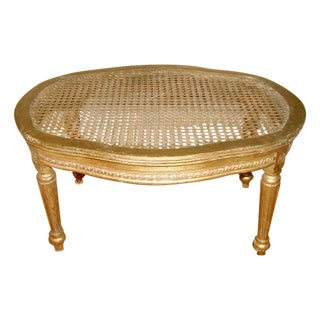 Gilt Caned Footstool, France C.1880-1905 For Sale