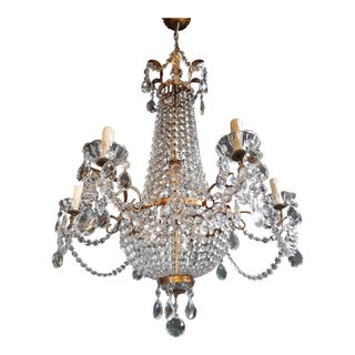 Empire Sac a Pearl Iron Chandelier Crystal Lustre Ceiling Lamp Basket Antique For Sale