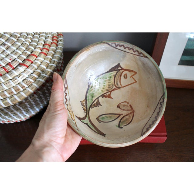 Yellow Mexican Art Tlaquepaque Clay Hand Painted Pottery Bowls - Set of 3 For Sale - Image 8 of 12