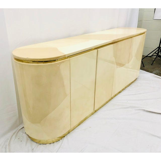 Vintage Mid Century Modern Brass Wrapped Credenza For Sale In Raleigh - Image 6 of 13