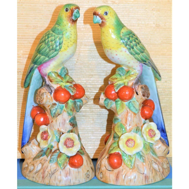 Blue 1980s Vintage Green Majolica Parakeets Figurines - a Pair For Sale - Image 8 of 8