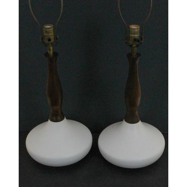 Danish Modern Sculptural White Pottery Lamps, Pair - Image 2 of 7