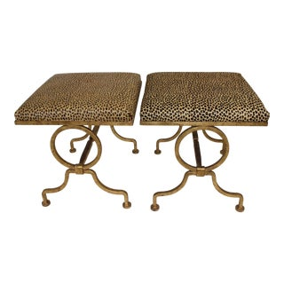 Vintage Arbus Style Gilt Wrought Iron and Faux Leopard Low Stools - a Pair For Sale