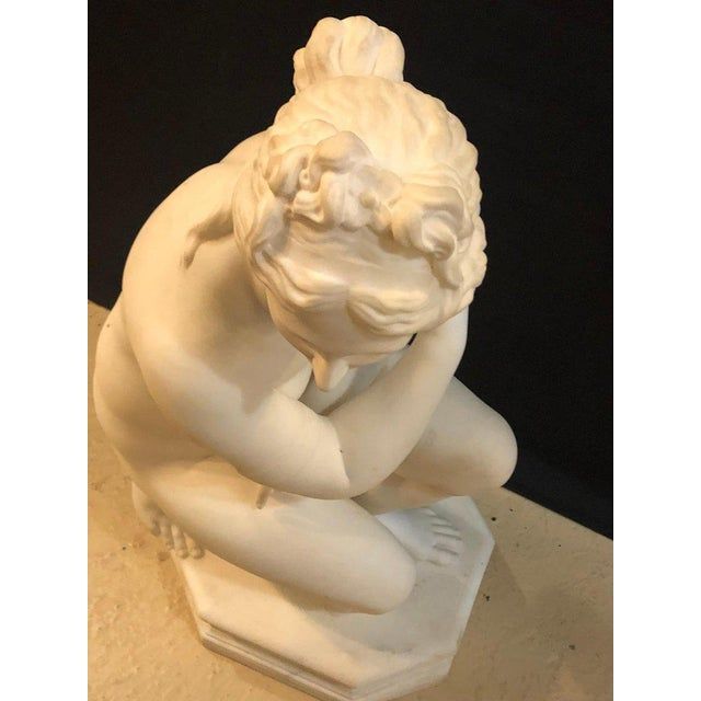 19th Century White Carrara Marble of a Nude Life Size Figure Kneeling For Sale - Image 9 of 13