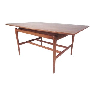 Stylish Danish Modern Floating Top Teak Dining Table For Sale