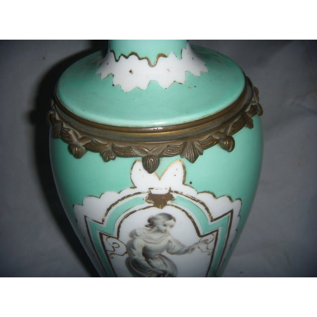 Neoclassical Teal Porcelain & Brass Lamp - Image 9 of 11