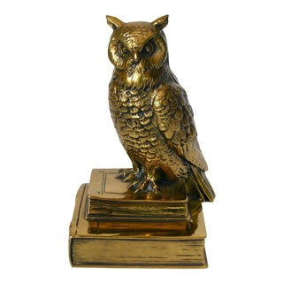 1970s Traditional Brass Owl With Books Figurine