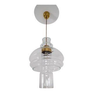 Large Mid-Century Pendant, Clear Glass and Brass, Europe, 1960s For Sale