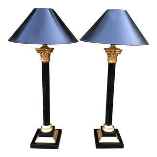 Pair of J. Robert Scott Black & Gold Giltwood Column Lamps For Sale
