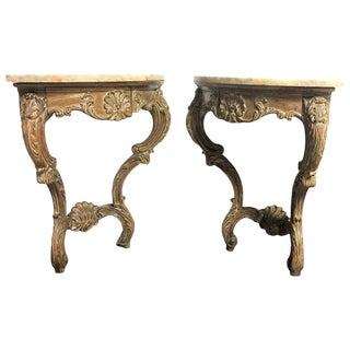 Early 20th Century Rococo French Hand-Carved Corner Consoles with Drawer - a Pair For Sale
