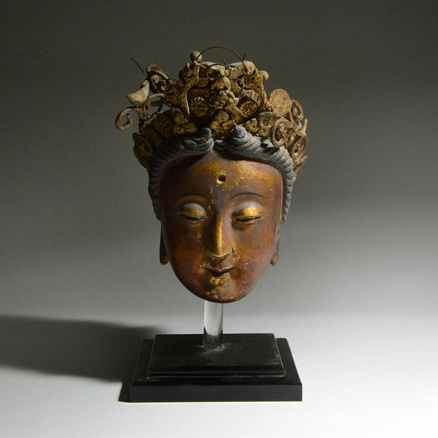 Asian Gilt Stucco Head of Kuan-yin For Sale - Image 3 of 3