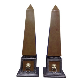 Metal Faux Silver & Brown Tones Obelisks - a Pair For Sale