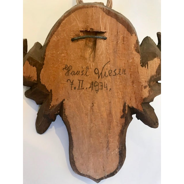 Black Forest Antler Trophies Mounted on a Shield Back With Leaf Decoration For Sale - Image 9 of 13