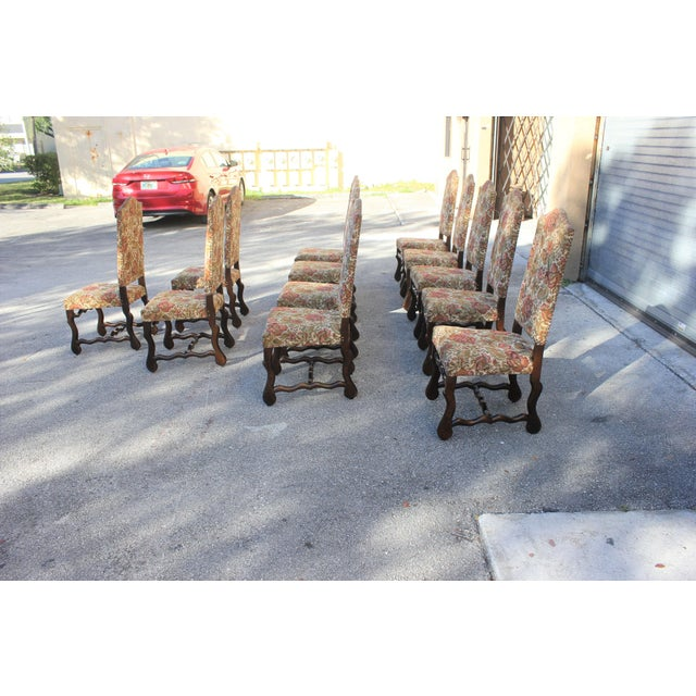 1900s Vintage French Louis XIII Style Os De Mouton Dining Chairs - Set of 12 For Sale In Miami - Image 6 of 13