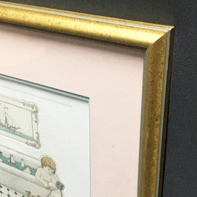 """L'ile De Robinson"" Bath Time Etching Framed Bathroom Art For Sale - Image 4 of 6"