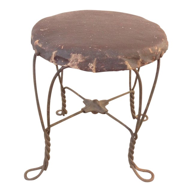 Antique Ice Cream Parlor Twisted Metal Foot Stool Ottoman For Sale