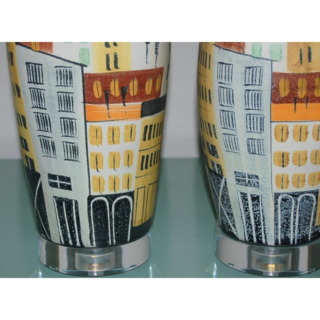 Vintage Bitossi Italian Ceramic Cityscape Table Lamps For Sale In Little Rock - Image 6 of 10