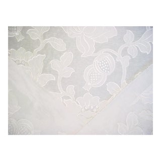 Scalamandre Granada Ivory Floral Damask Upholstery Fabric - 9 3/4 Yards For Sale