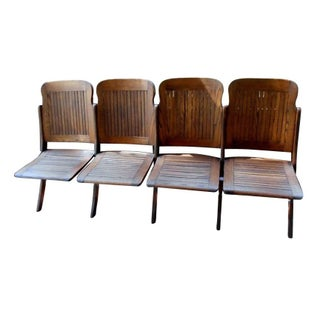 Early 20th Century Folding Oak Chairs For Sale