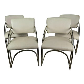 1960s Mid-Century Modern Milo Baughman Brass and Vinyl Cantilever Chairs - Set of 4