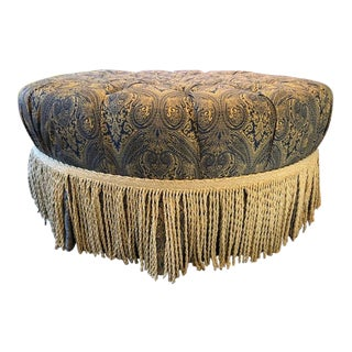 Traditional Tufted Ottoman With Bullion Fringe For Sale