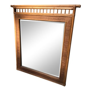 Vintage Bamboo Rattan Mirror For Sale