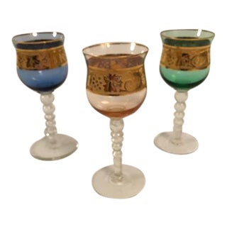 Mid-Century Colorful Crystal Wine Glasses - Set of 3