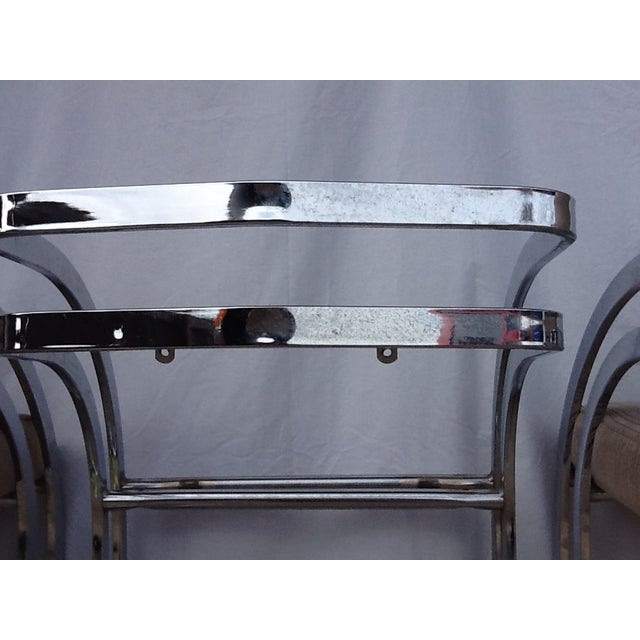 Milo Baughman Cantilevered Chrome Stools - Set of 3 - Image 7 of 10