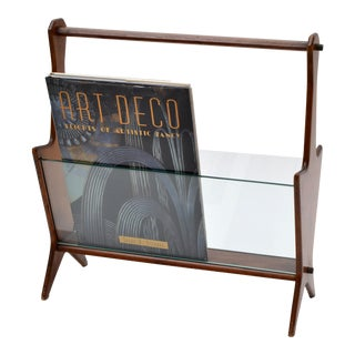Ico Parisi Italian Mahogany and Glass Magazine Rack from the 1950s For Sale