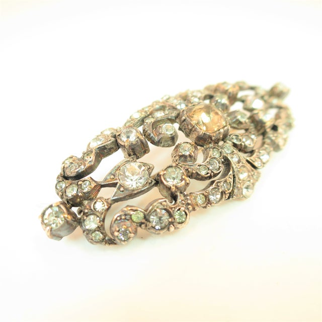 Edwardian Hand-Wrought Sterling & French Paste Brooch1905 For Sale - Image 4 of 11