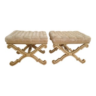 Vintage Karges Curule Hollywood Regal Wood X-Frame Benches- A Pair