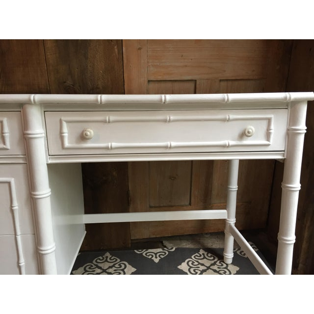 Vintage faux bamboo desk with original hardware by Thomasville. This faux bamboo line was very popular in the 60's and...