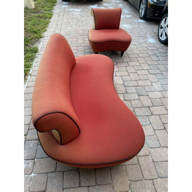 1950s Cloud Sofa in the Style of Adrian Pearsall Peanut Shape - 2 Pieces For Sale - Image 11 of 12