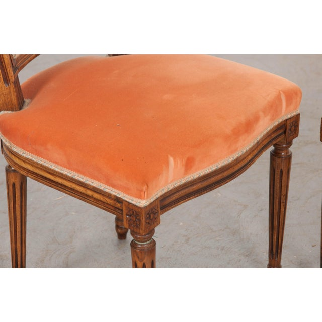 French 19th Century Louis XVI-Style Walnut Sidechairs-Set of 6 For Sale - Image 10 of 12