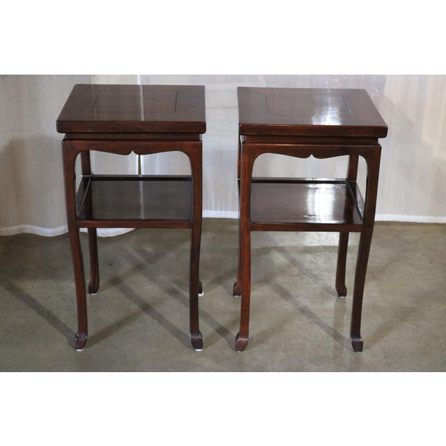 Chinese Walnut Tea Tables - a Pair For Sale In Los Angeles - Image 6 of 6