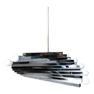 Gaetano Sciolari Chrome Spiral 10 Light Chandelier For Sale